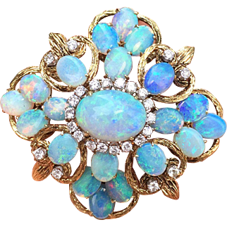 Large Opal and Diamond Cluster and 14K Gold Large Brooch Pendant