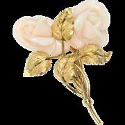 Vintage Carved Angel Skin Coral Roses 18K Gold Brooch Pin