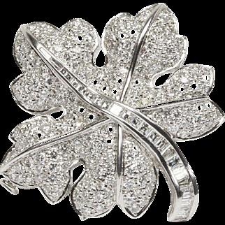 Vintage 18K Gold and 7.5 Carat Diamond Maple Leaf Pendant Brooch