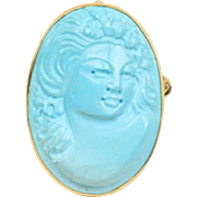 Large Carved Turquoise and 18K Gold Cameo Pin Pendant