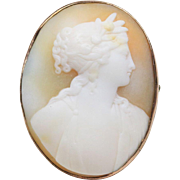 Antique Carved Shell Cameo 9K Gold Brooch Pin