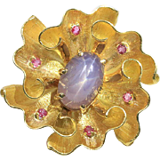 Vintage Purple Star Sapphire and Pink Sapphire 18K Gold Wavy Ribbon Brooch Pin