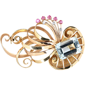 Large Retro Aquamarine and 14K Two Tone Gold Swirl Abstract Brooch Pin