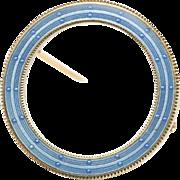 Art Nouveau Era Blue Enamel 14K Gold Antique Circle Pin Brooch