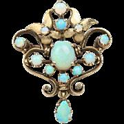 Art Nouveau Era Opal Cluster and 14K Gold Brooch Pendant