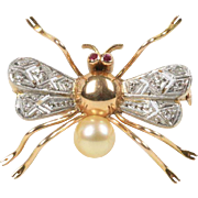 Vintage 14K Two Tone Gold Diamond and Cultured Pearl Fly Brooch Pin