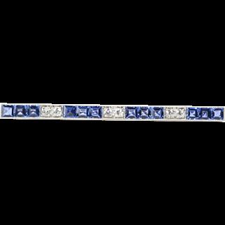 Art Deco Era Natural Sapphire and Diamond Platinum Bar Pin Brooch