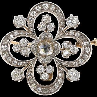 Antique 4 Carat Rose Cut Diamond Silver over Gold Clover Style Brooch Pendant