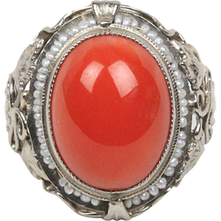 Art Nouveau Natural Coral and Seed Pearl 18K White Gold Ivy Motif Ring