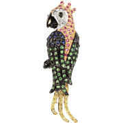 Whimsical Parrot Bird 18K Gold Sapphire Ruby Peridot Diamond Brooch Pin