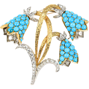 Turquoise and 5.5 Carat Diamond Bluebell Flower 18K Gold and Platinum Brooch