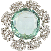 GIA Certified 45 Carat Natural Aquamarine and 4 Carat Diamond Platinum Pendant Brooch