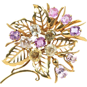 French Pastel Colored 20 Carat Natural Sapphire 18K Gold Flower Brooch Clip