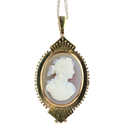 Victorian Banded Agate Carved Cameo 14K Gold Pendant Brooch