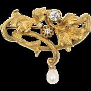 Art Nouveau 14K Gold and 0.45 Carat Diamond Curving Vines Brooch Pendant