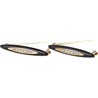 Antique Black Enamel and Seed Pearl 14K Gold Lingerie Clips Pins