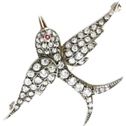 Victorian Silver and Gold Old Mine Cut Diamond Swallow Bird Brooch