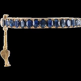 Vintage 14 Carat Blue Sapphire and 14K Rose Gold Bangle Bracelet
