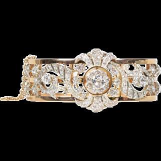 Large Victorian 6.5 Carat Diamond 18K Gold Antique Statement Bangle Bracelet