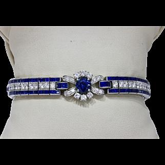 Vintage Platinum Diamond and Natural Sapphire Flower Triple Line Bracelet