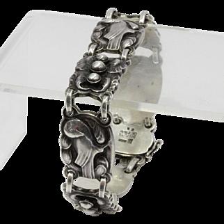 Vintage 1930s Georg Jensen Sterling Silver Number 24 Dove Bracelet