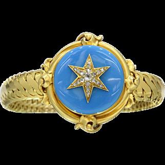 Victorian Turquoise Enamel and Diamond Star 22K Gold Memorial Bracelet Set