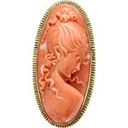 Vintage 18K Yellow Gold Carved Coral Cameo Lady's Face Brooch
