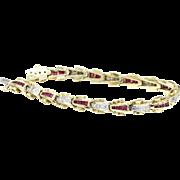 Vintage Retro Ruby and Diamond Tank Track Line 14K Gold Bracelet