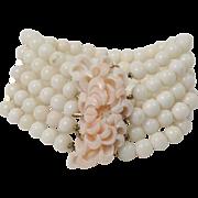 Vintage Natural Angel Skin Coral Multistrand Bracelet with Carved Coral and 14K Gold Clasp