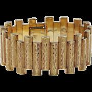 Wide Vintage Retro Era Alternating Link Heavy 18K Gold Florentine Finish Bracelet