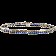 Art Deco French Cut Sapphire and Diamond 18K White Gold Straight Line Tennis Bracelet
