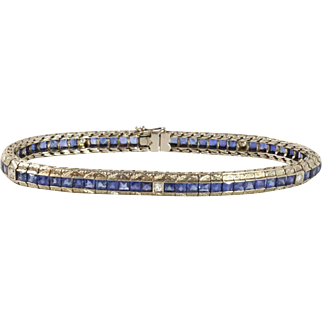 Art Deco French Cut Sapphire and Diamond 18K White Gold Straight Line Tennis Bracelet