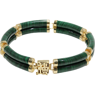 14K Yellow Gold and Carved Green Malachite Bracelet