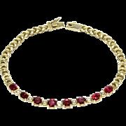 Vibrant 3.2 Carats Ruby Alternating with Diamond 18K Gold Line Bracelet