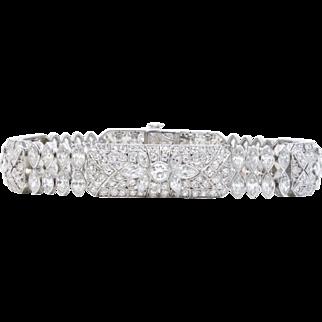 Art Deco S. Kind & Sons Platinum and 12 Carats Diamond Lily Style Bracelet