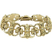 Vintage 14K Yellow Gold Scroll Design Wide Chunky Bracelet