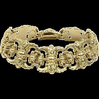 Vintage 14K Yellow Gold Scroll Design Wide Chunky Bracelet