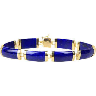 Vintage Lapis Panel and 14K Gold Chinese Good Luck Bracelet