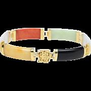 Vintage Multicolor Jade Onyx Agate Panel 14K Gold Bracelet
