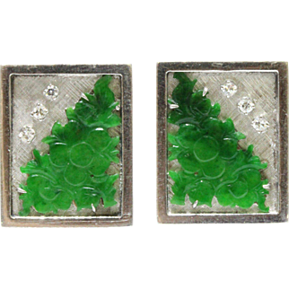 Carved Green Jadeite Jade Cherry Blossom and Diamond 14K Gold Cufflinks