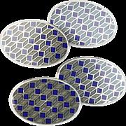 Longmire 18K White Gold Blue and Gray Enamel Men's Cufflinks
