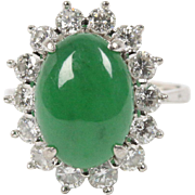 """AGL Certified Natural """"A"""" Jadeite Jade and Diamond 18K Gold Ring"""