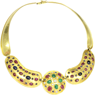 Vintage Ilias Lalaounis Diamond Multicolor Gemstone 18K Gold Greek Inspired Collar Necklace