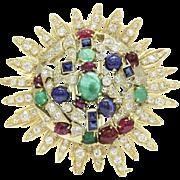 Vintage Seaman Schepps 14K Gold Multicolor Gemstones and Diamond Sunburst Brooch