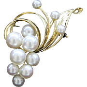 Vintage Mikimoto Pearl 14K Gold Swirl Grape Brooch Pin