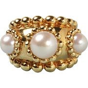 Vintage Chanel Heavy 18K Gold and Three Pearl Wide Band Beaded Ring