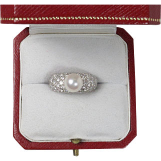 Cartier Juliette Pearl and 5 Carats Diamond 18K White Gold Ring with Original Box