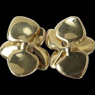 Feminine Angela Cummings 18K Gold Abstract Orchid Blooms Vintage 1984 Earrings