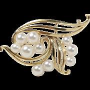 Vintage Mikimoto 14K Gold and Akoya Pearl Spray 2.4 Inches Long Brooch Pin