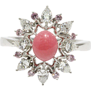Rare Mikimoto GIA Certified Conch Pearl, Diamond, Pink Sapphire Platinum Cluster Ring